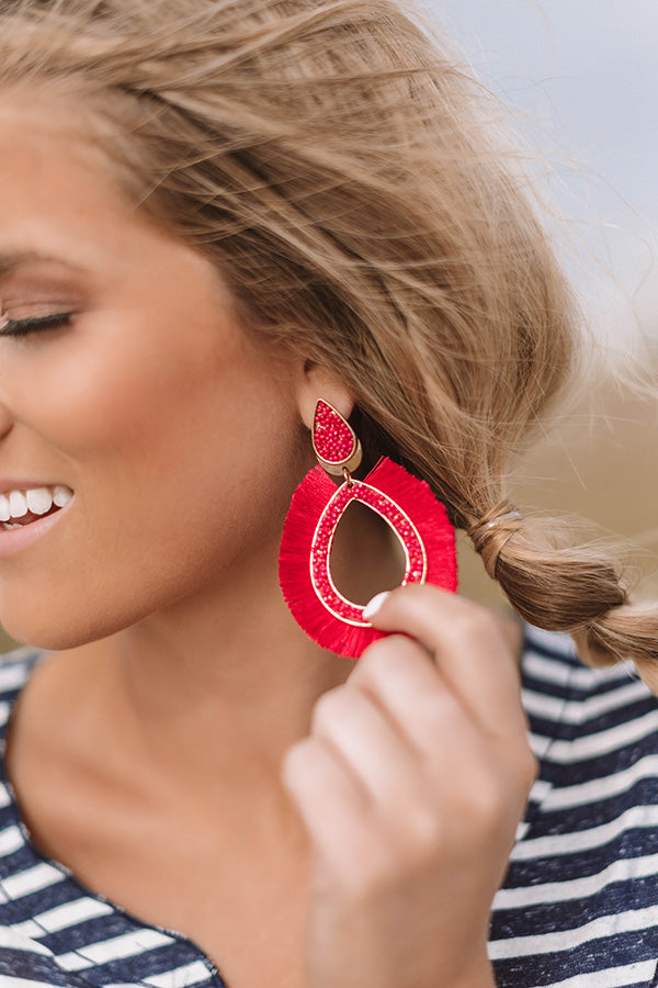 On Cabana Time Earrings In Raspberry