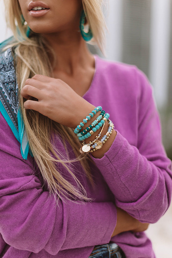 Mykonos Meet Up Bracelet Set In Turquoise