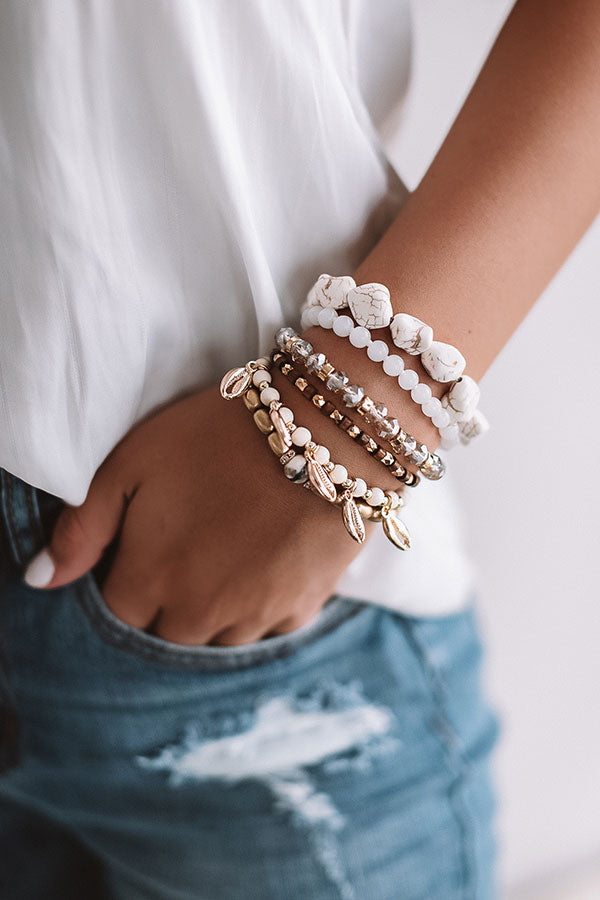 Venice Beach Vacay Bracelet Set In Ivory
