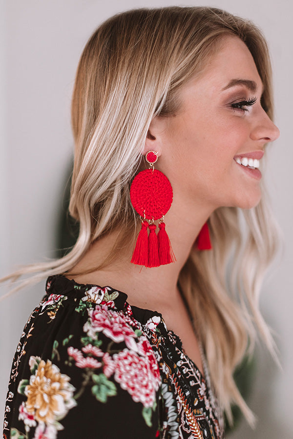 Wine and Amore Earrings In Red