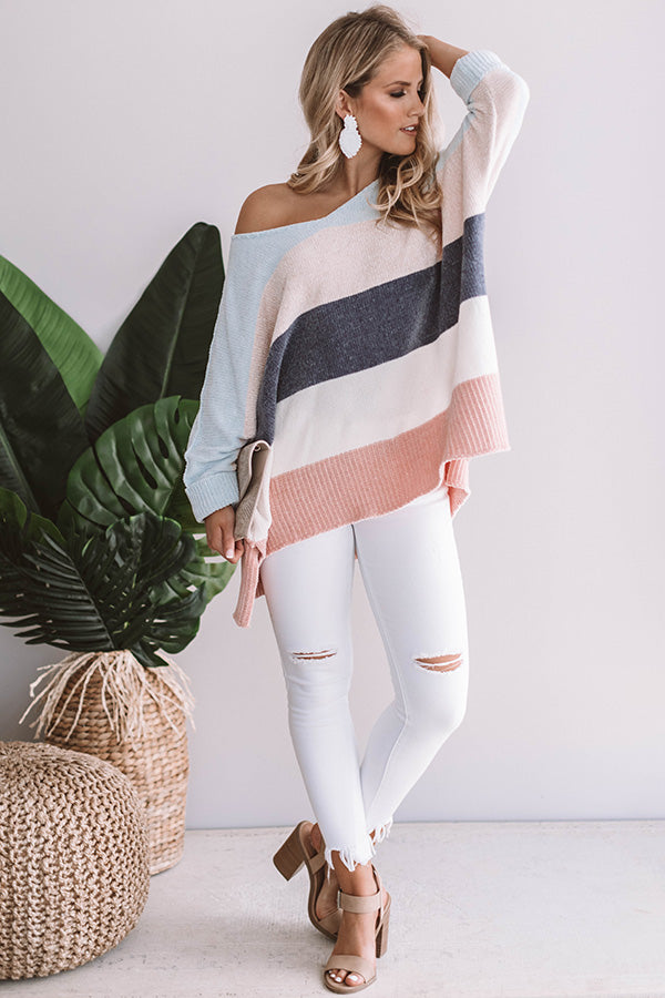 North Shore Chenille Color Block Sweater In Sky Blue