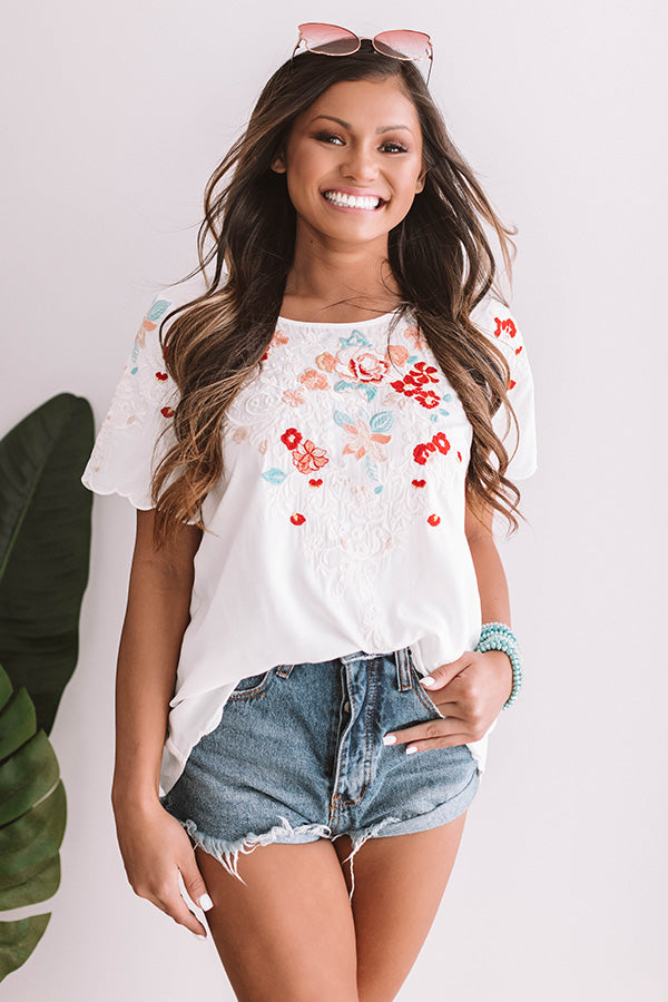 Falling For Floral Embroidered Top In Ivory