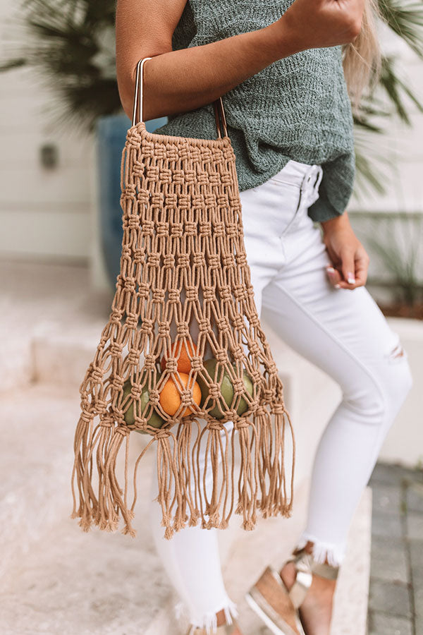 Sand And Shore Netted Bucket Bag In Tan
