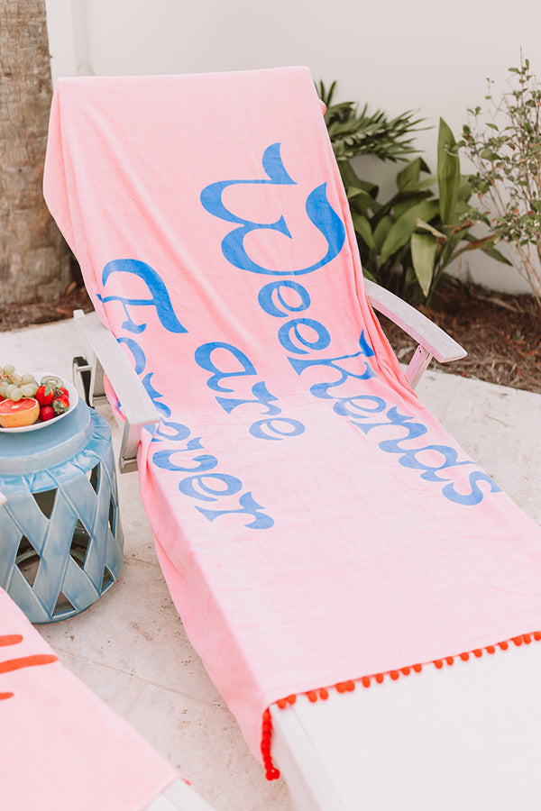 Weekends Are Forever Giant Pom Pom Towel