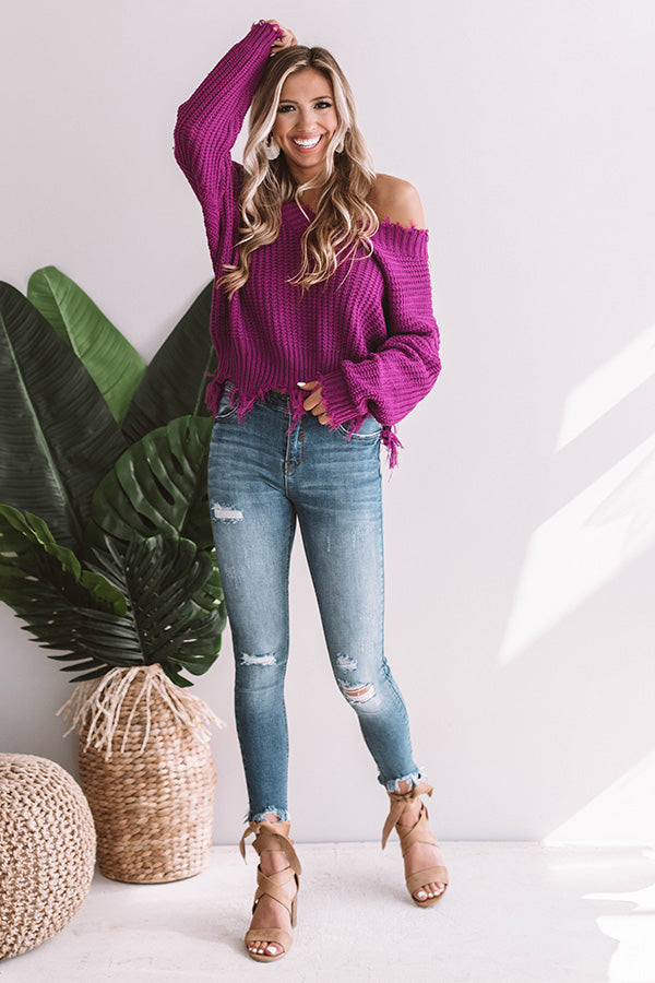 Brighter Days Frayed Sweater In Orchid
