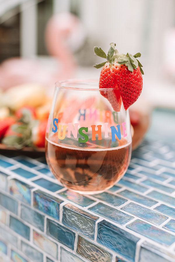 Drink Up The Sunshine Stemless Wine Glasses