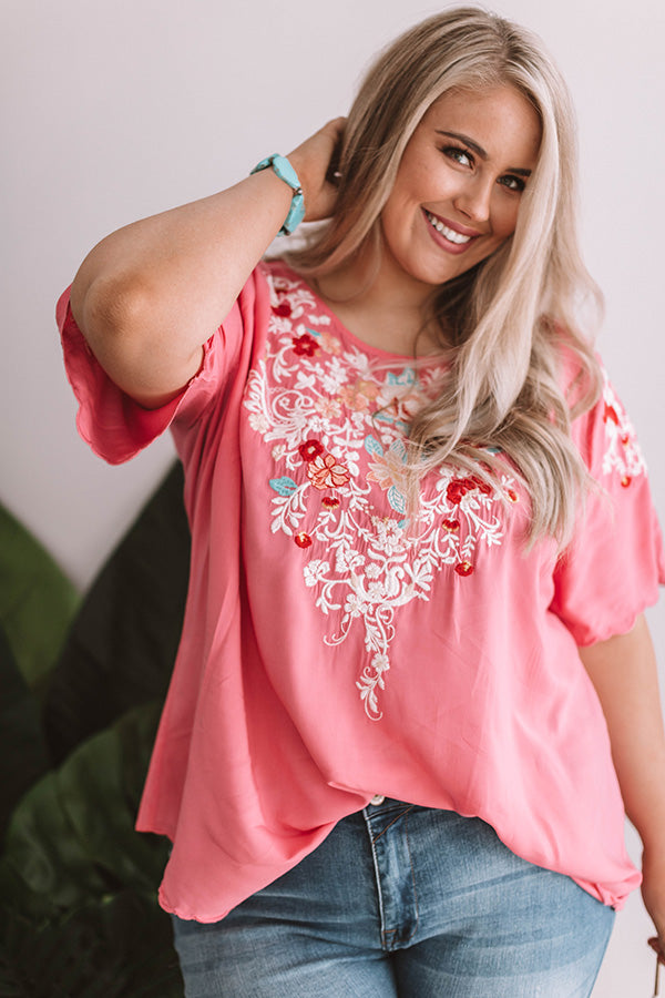 Falling For Floral Embroidered Top In Pink
