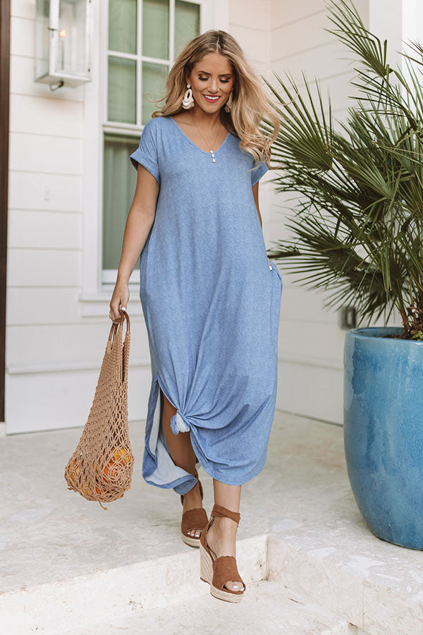 Santorini Sunsets T-Shirt Maxi in Airy Blue