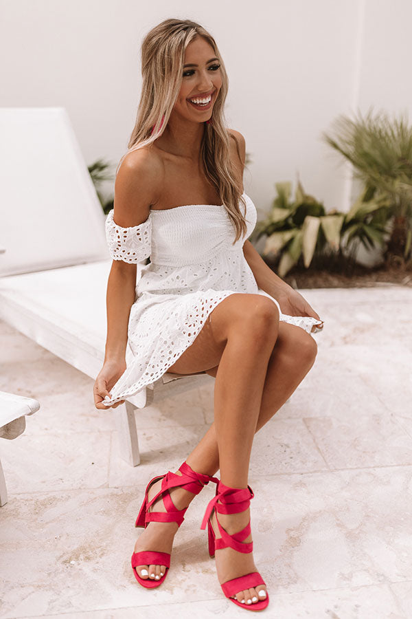 Easy On The Eyes Off Shoulder Eyelet Dress
