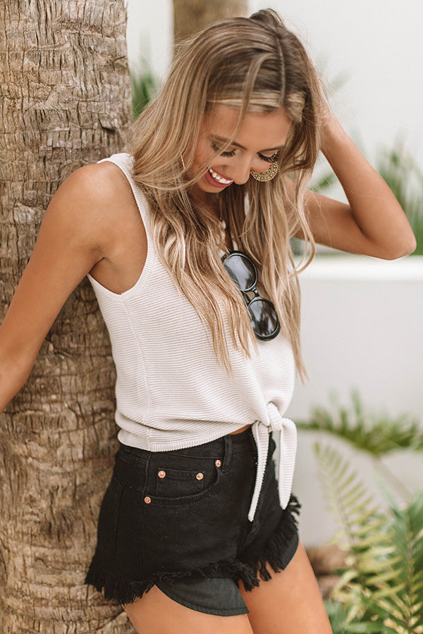 Hello Summer High Waist Frayed Shorts in Black