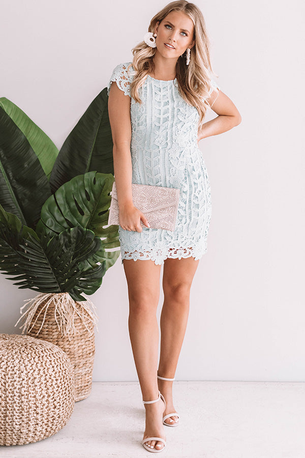 Love In The City Crochet Dress in Mint
