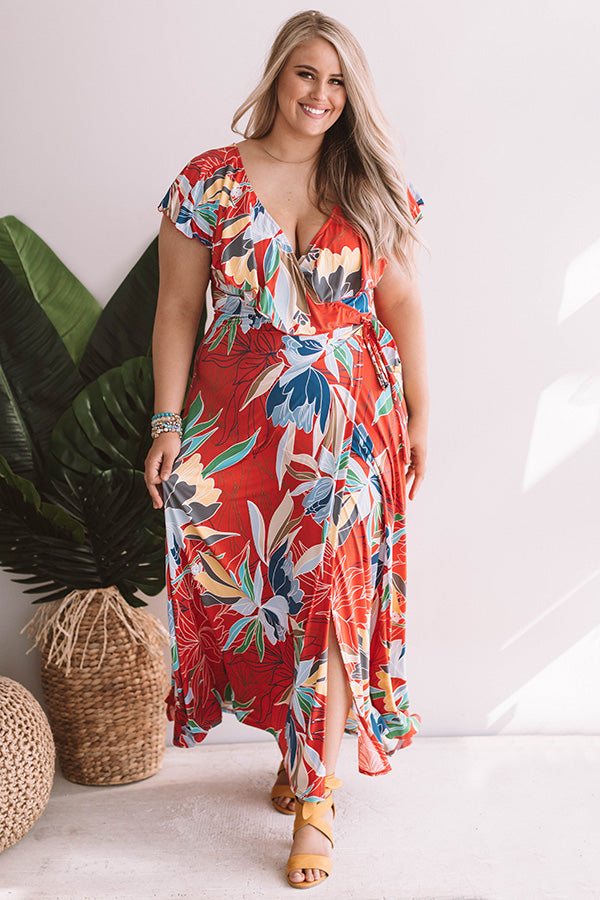 Paradise Is Calling Ruffle Maxi In Coral