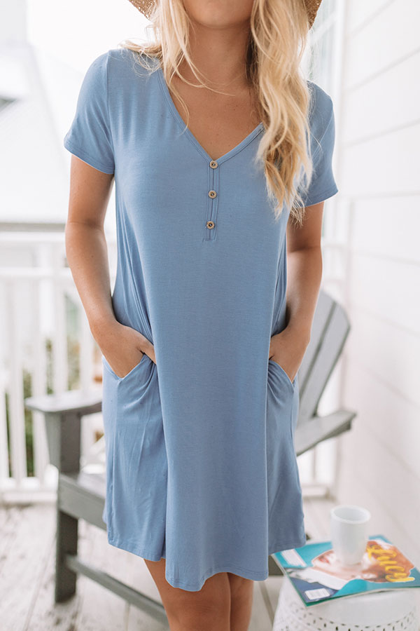 One Way To Oahu Shift Dress in Airy Blue
