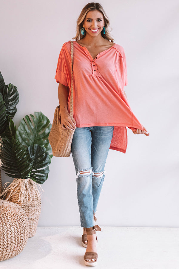 Seaside Dreaming Shift Top in Coral