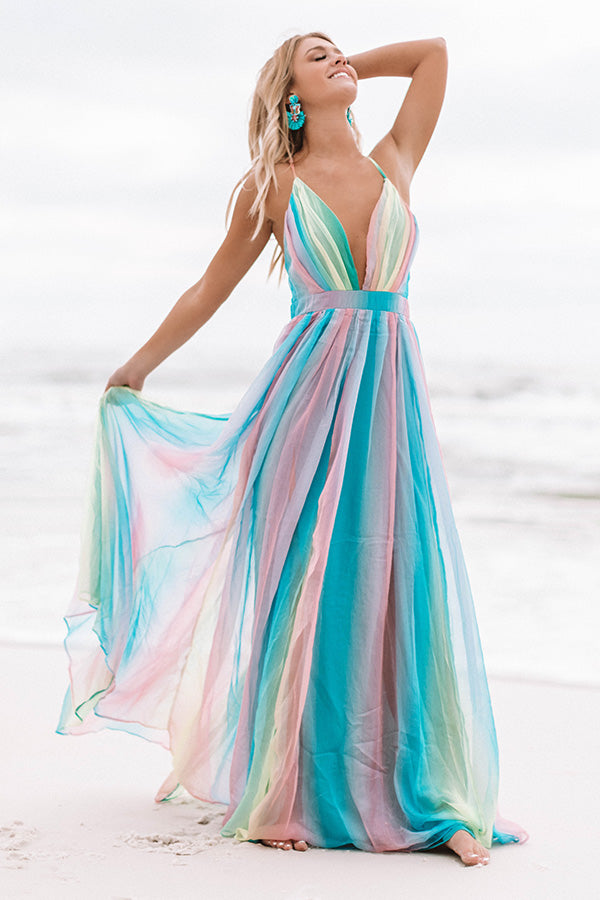 Seaside Serenity Rainbow Maxi Dress