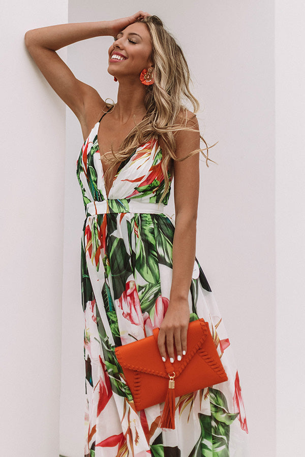 Cabo Crushin' Floral Maxi Dress in Ivory