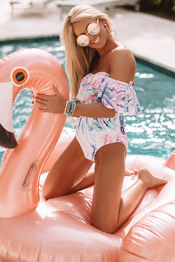 Waves Of Happiness Watercolor One Piece Swimsuit