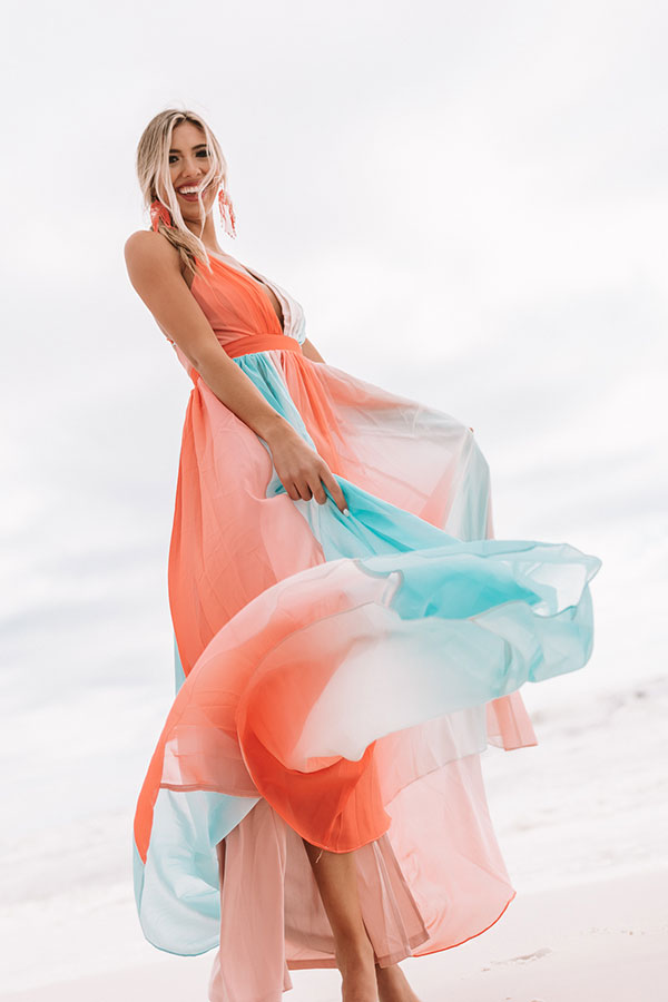 Vacay And Vino Maxi Dress in Sky Blue