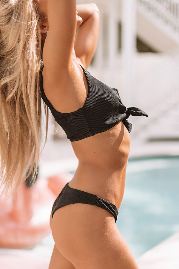 Vacay Goals Ribbed Front Tie Bikini Top in Black