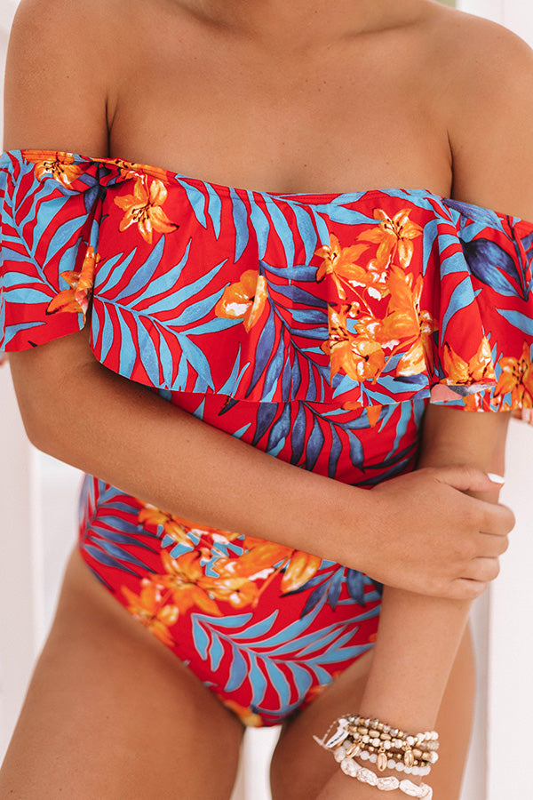 Barbados Babe Ruffle One Piece Swimsuit in Red Floral