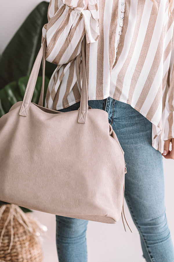 Brooklyn Babe Faux Leather Tote In Birch