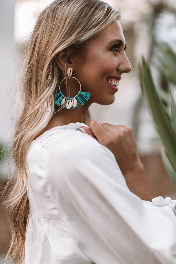 Sand And Shore Tassel Earrings In Turquoise