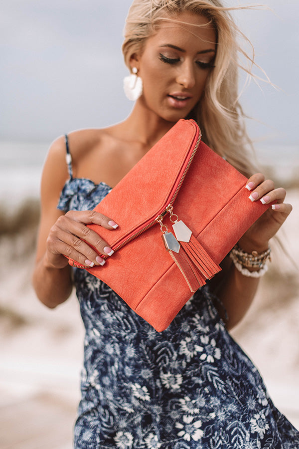 The Chic Life Clutch in Coral