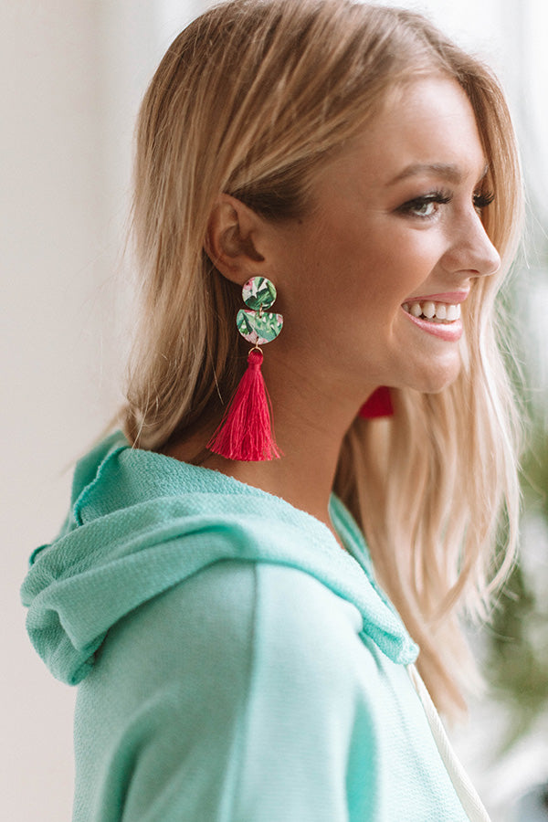 Talk Tropical To Me Tassel Earrings In Hot Pink