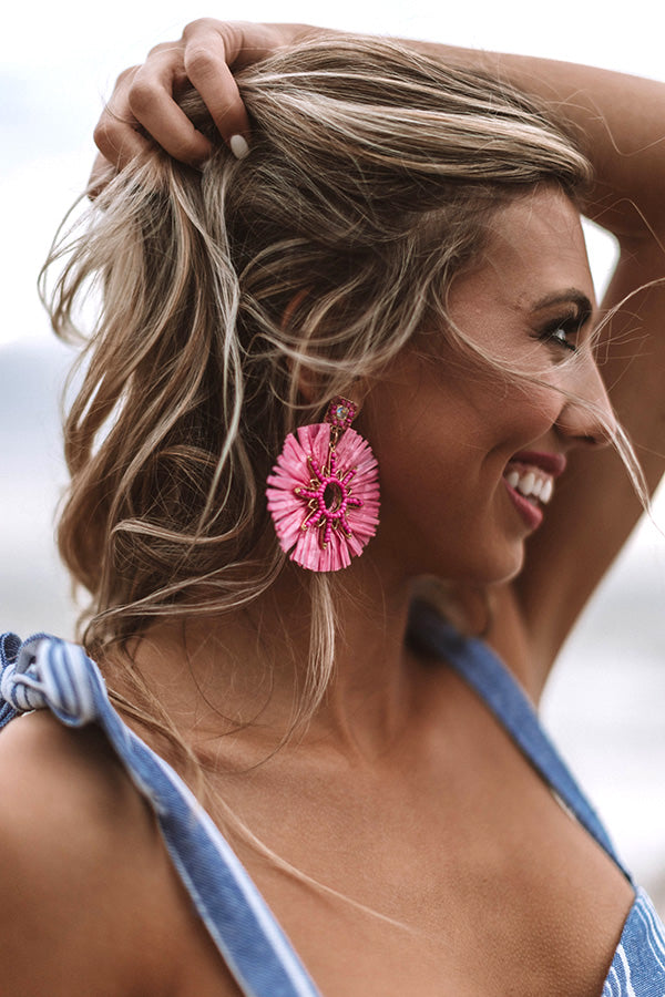 Long Beach Bombshell Earrings In Pink