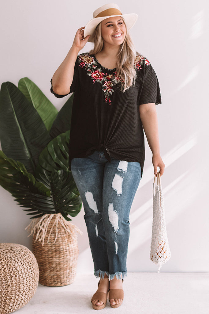 Cabana Life Embroidered Waffle Knit Top in Black