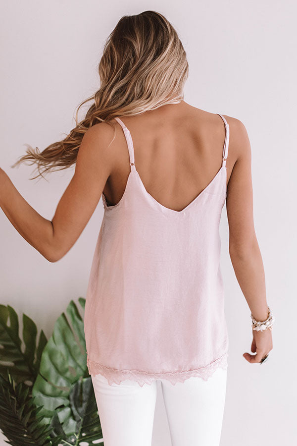 Lace And Grace Satin Tank in Blush