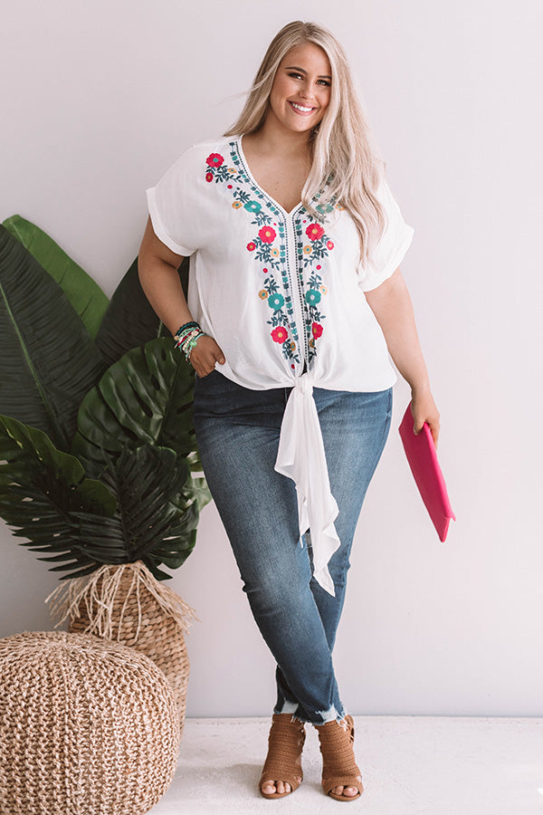 Sunshine On My Mind Embroidered Tie Top in White