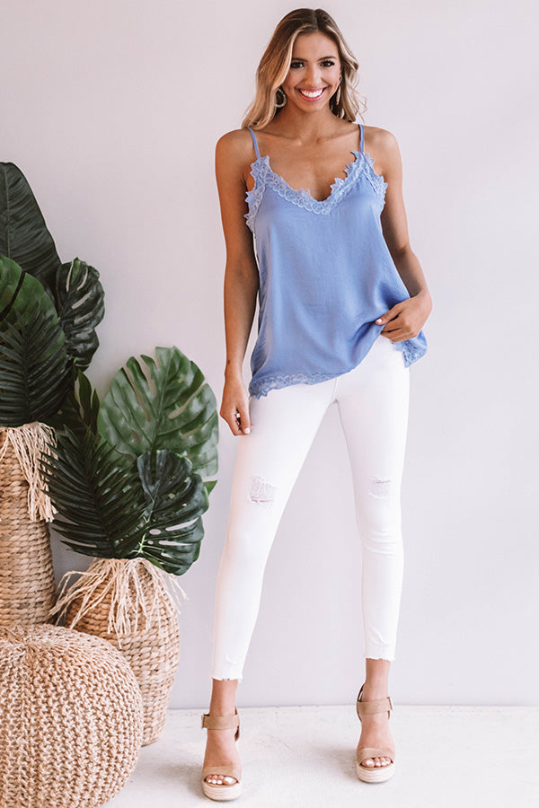 Lace And Grace Satin Tank in Periwinkle