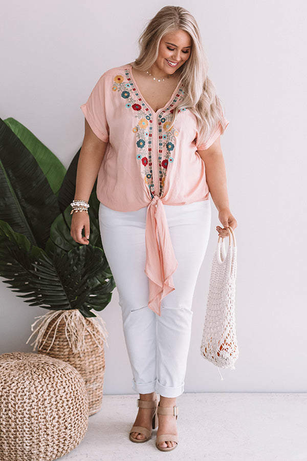 Sunshine On My Mind Embroidered Tie Top in Peach