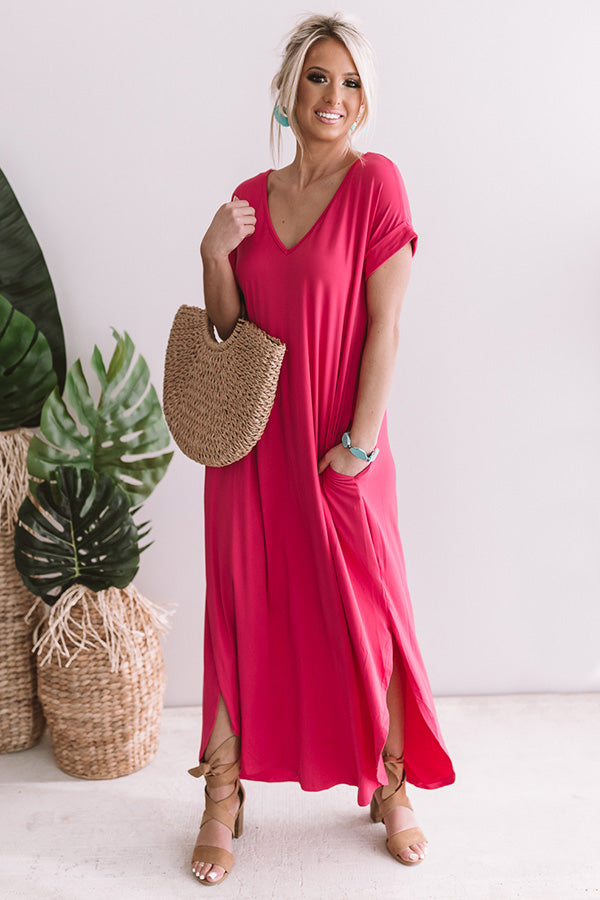 Just My Type T-Shirt Maxi In Hot Pink