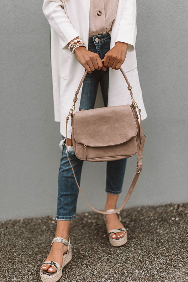Brunch And Bubbles Faux Leather Crossbody In Warm Taupe