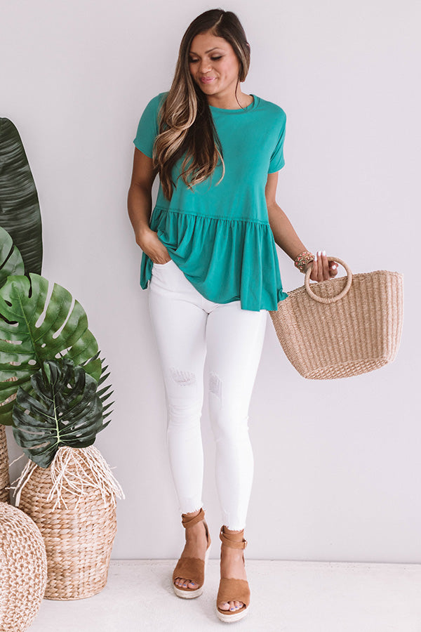 Weekend Comforts Shift Top in Jade