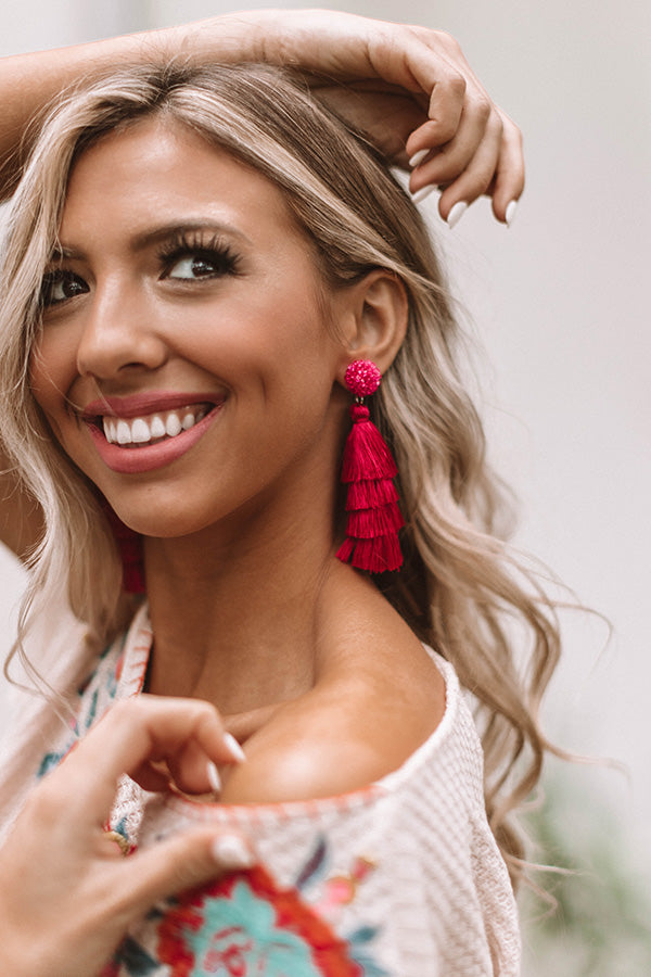 Sipping In The Sunshine Tassel Earrings
