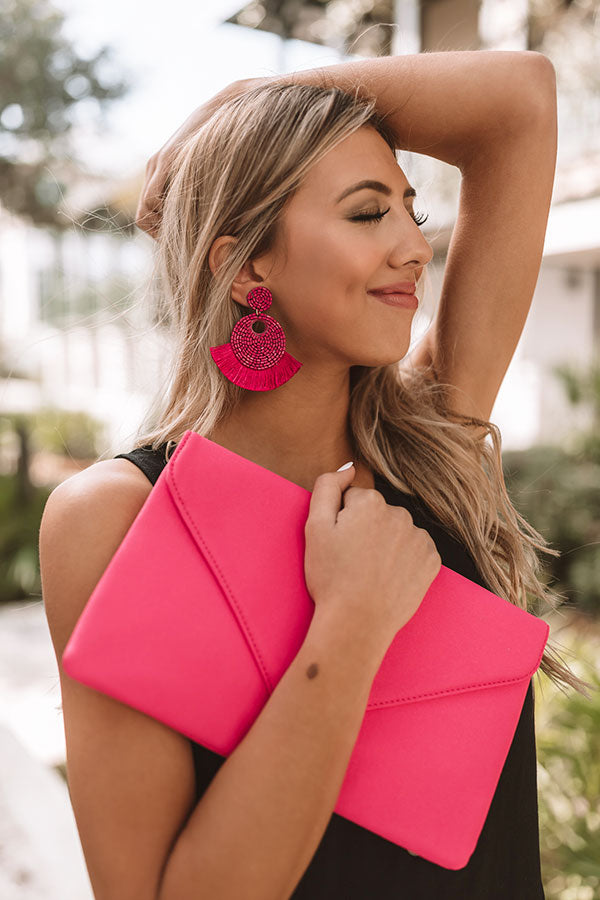 Cabo Calling Earrings In Hot Pink
