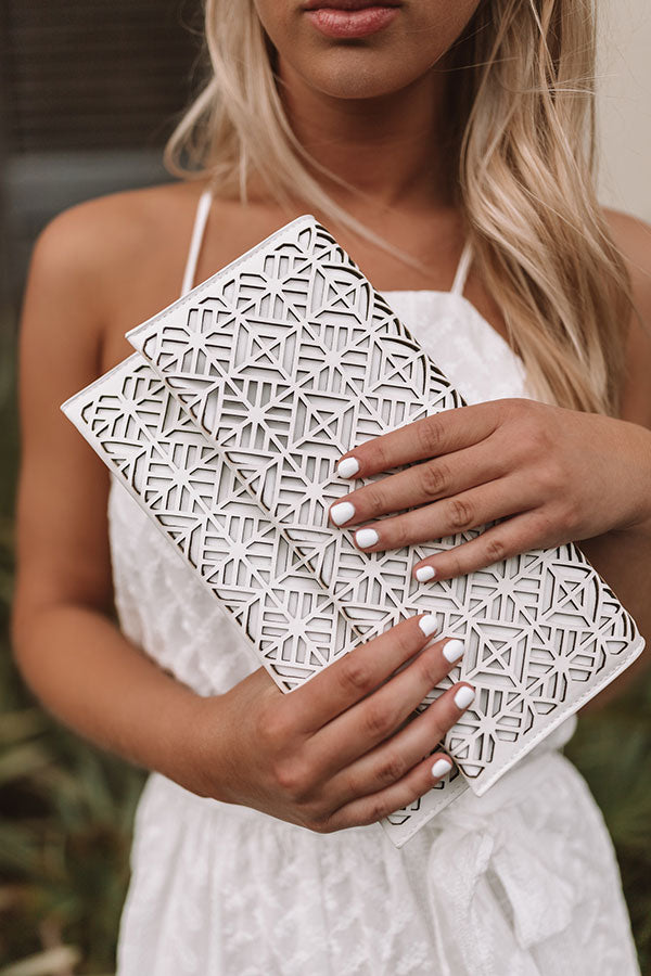 Santorini Romance Clutch In White