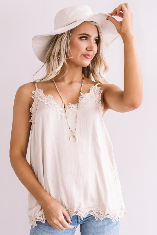 Lace And Grace Satin Tank In Iced Latte
