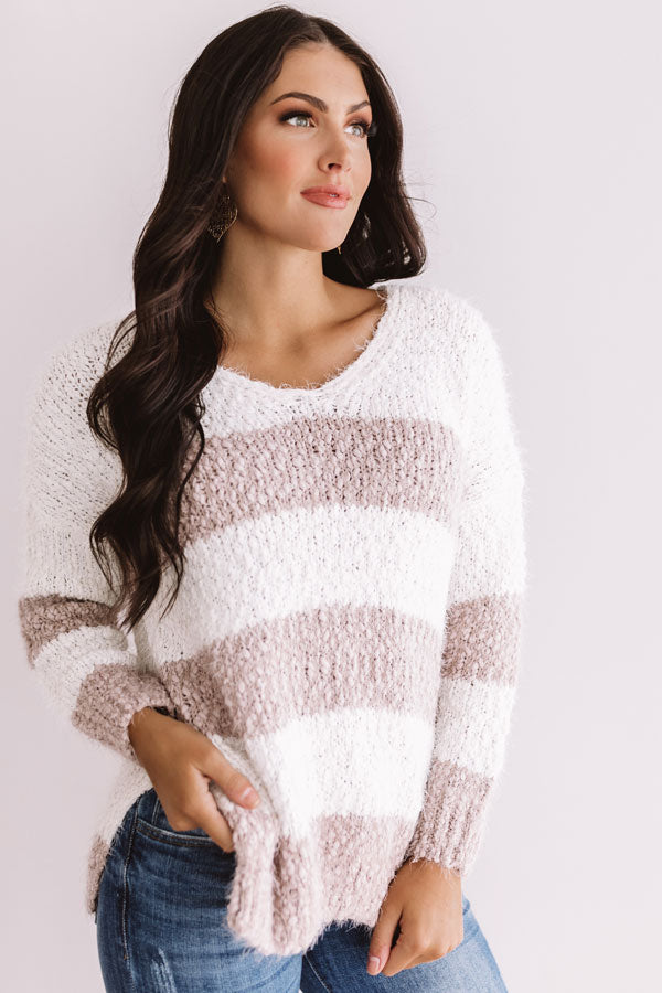 Shore Style Stripe Knit Sweater In Dusty Purple