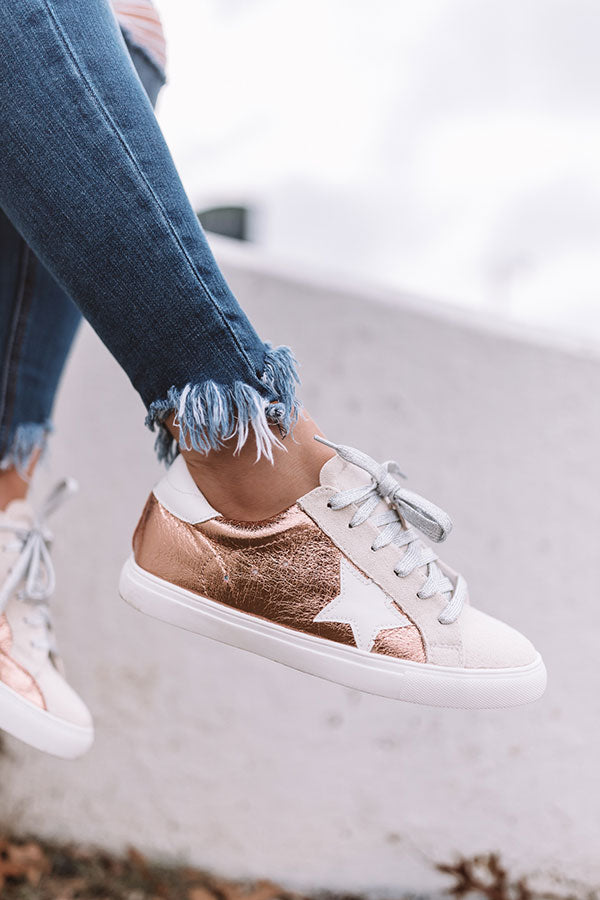 Shine Brighter Metallic Sneaker in Rose Gold