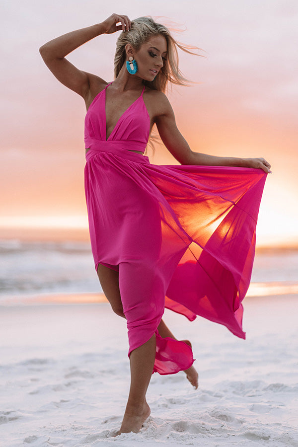 Bali Bombshell Lace Up Maxi Dress In Pink