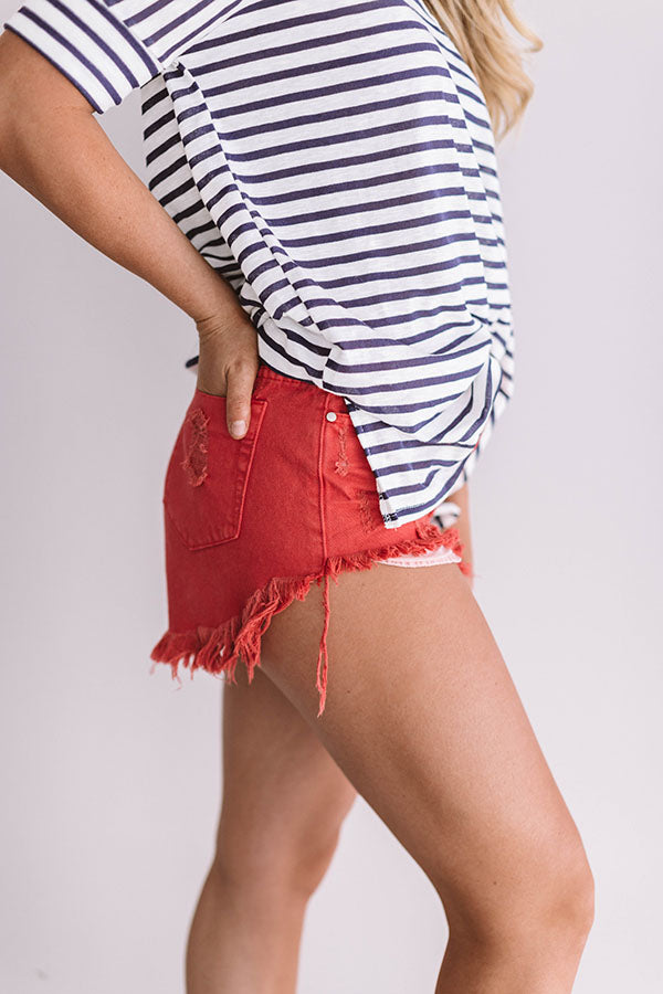 Brunching Babe Midrise Cut Off Shorts in Scarlet
