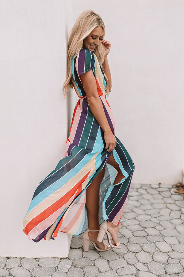 Island Escape Stripe Wrap Maxi Dress