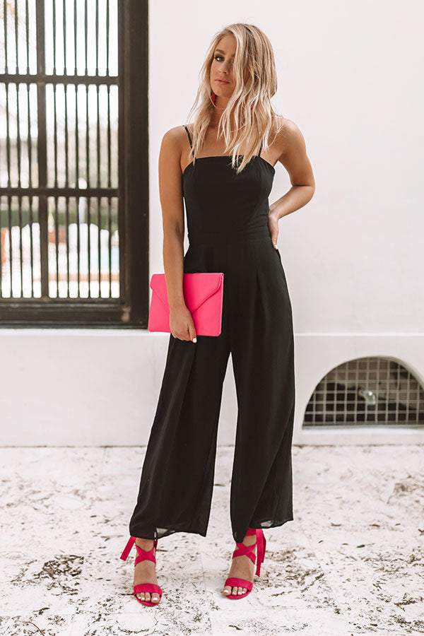 Mojitos and Magic Tie Back Jumpsuit in Black