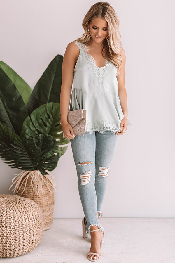 Wine And Roses Lace Trim Top in Light Pear