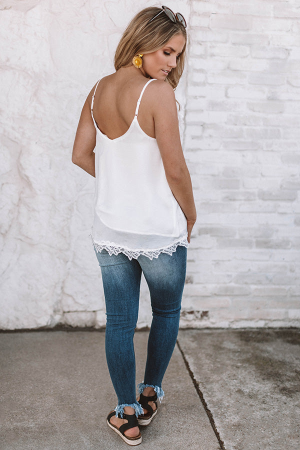 Lace And Grace Satin Tank in White