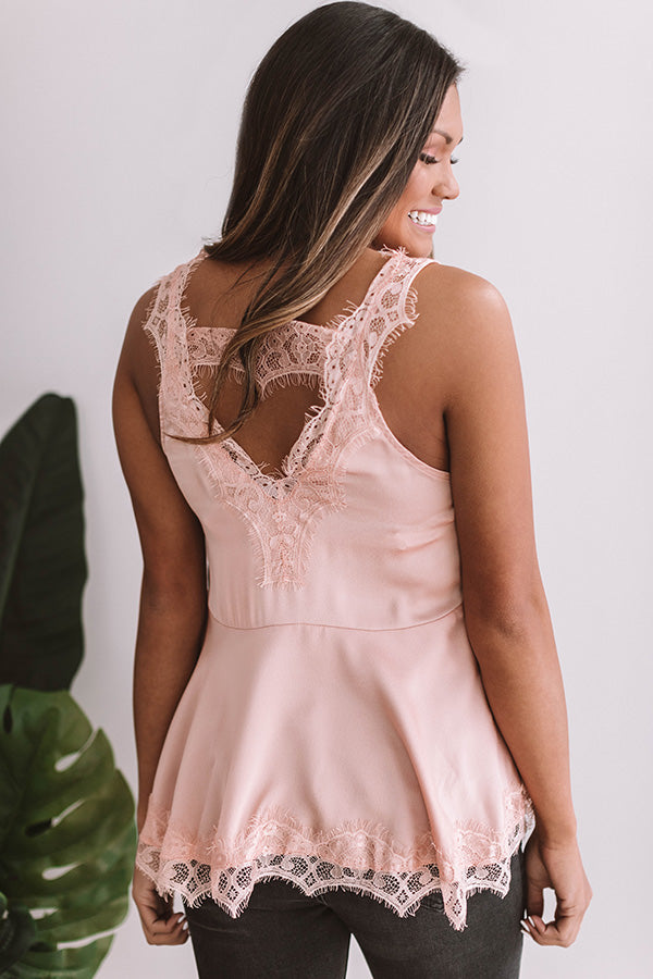Wine And Roses Lace Trim Top in Blush